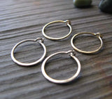 Set of Tiny Handmade Hoop Earrings in Silver and Gold