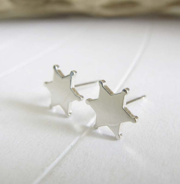 Sheriff star badge stud earrings. Handmade in 14k gold or sterling silver.