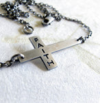 Sideways christian cross faith sterling silver dainty necklace
