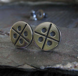 Modern X Dot Pattern Sterling Silver Earrings