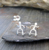 Skateboarder stud earrings handmade from sterling silver or 14k gold