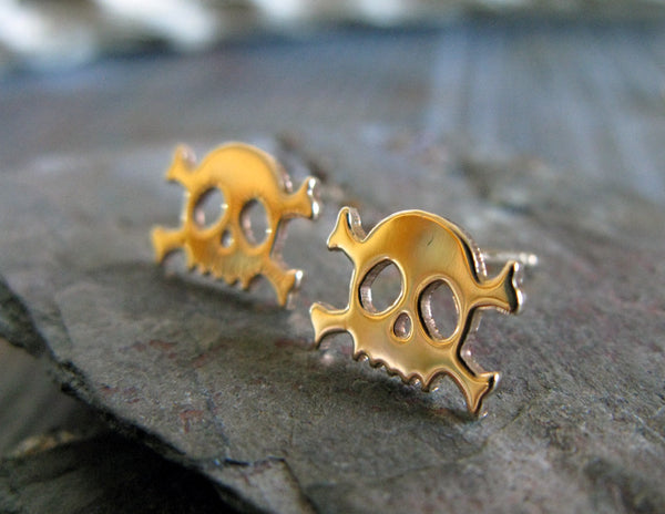 Skull and Crossbones Gold Stud Earrings