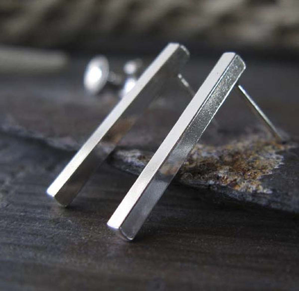 Sleek Sterling SIlver Bar Post Earrings