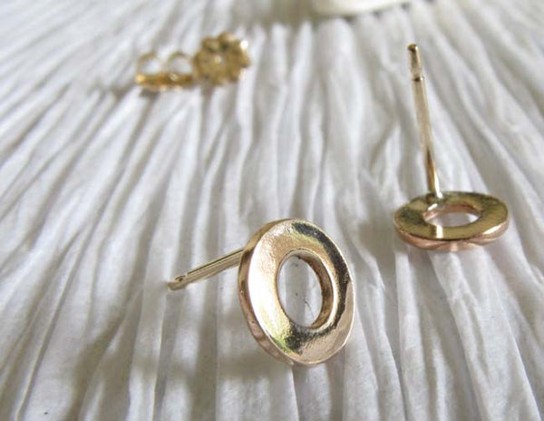 Small Washer Post Earrings. Sterling Silver or Gold