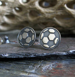 Soccer Ball sterling silver stud earrings