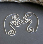 Sterling Silver Triskele Spiral wirewok earrings on grey stone