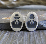 Spy sterling silver stud earrings. Secret Agent handmade jewelry