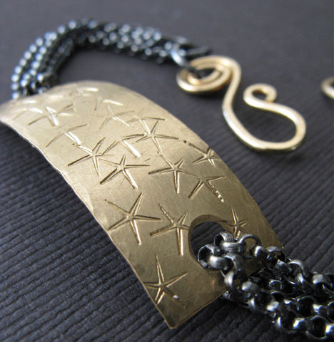 Gold and Oxidized sterling starfish plaque bracelet