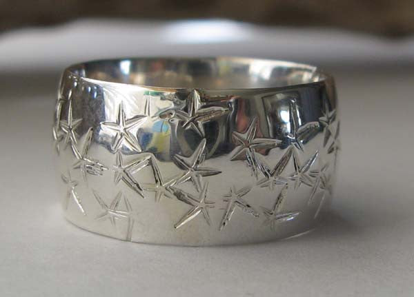 Starfish Sterling Silver Wide Band Ring