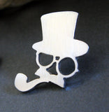 Silver steampunk man tie tack pin with top hat glasses mustache and pipe on black