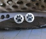 Dog Paw Stud Earrings in sterling silver
