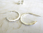 Hammered Small Open Hoop Stud Earrings