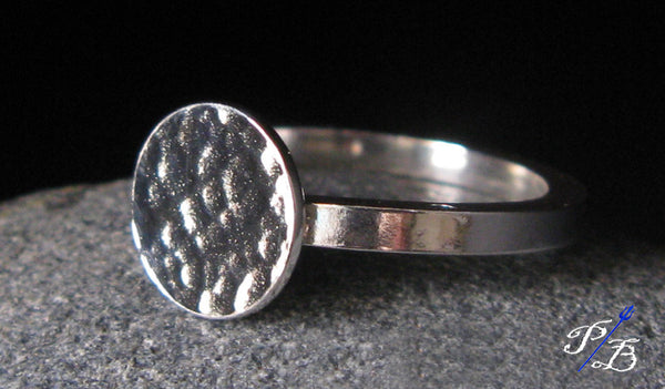Sterling Silver Hammered Disc Ring