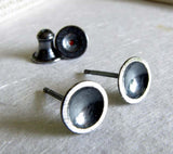 Oxidized Sterling Silver Cup Stud Earrings