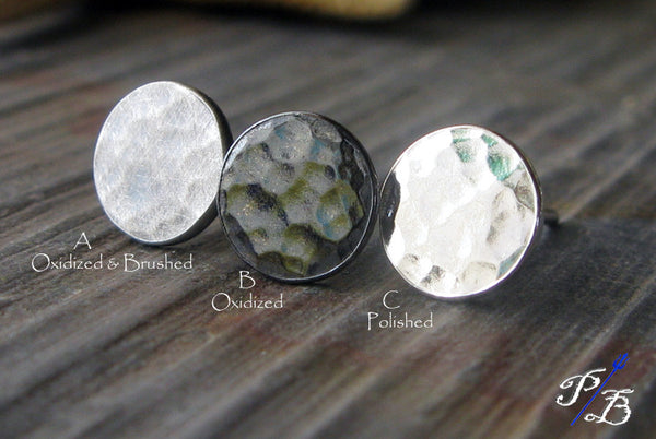 Sterling Silver Hammered Round Earrings Finish Options