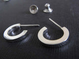 Small Sterling Silver Polished Hoop Stud Earrings