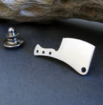 Butcher Knife Cleaver Tie Tack handmade from sterling silver
