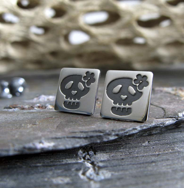 Sugar Skull Earrings. Handcrafted Day of the Dead sterling silver studs