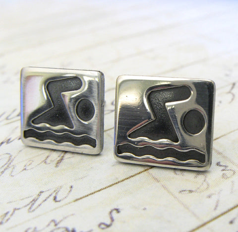 Swimmer Sterling Silver Post Earrings