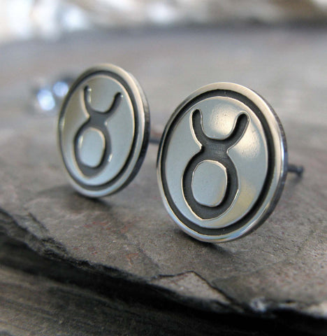 Taurus the Bull Zodiac stud earrings sterling silver