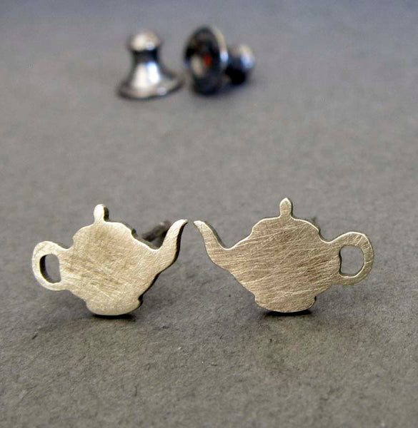 Tea Pot tiny stud earrings handmade in sterling silver or 14k gold