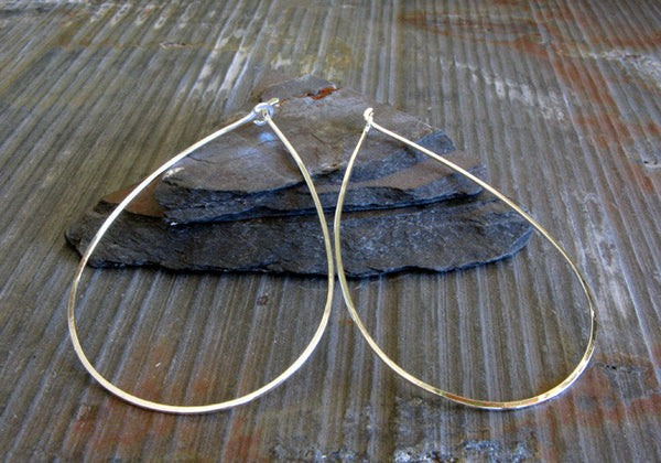 Tear Drop Hoop Earrings Handmade in Sterling Silver