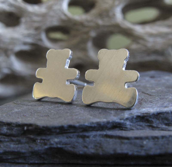 Teddy Bear Sterling Silver Stud Earrings