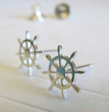 The Ship Wheel dainty sterling silver stud earrings handmade in the USA
