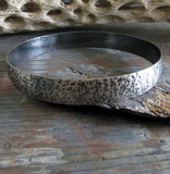 Wide sterling silver hammered bangle bracelet rustic antiqued finish