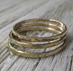 Set of 3 Thin 14k Gold Hammered Stacking Rings