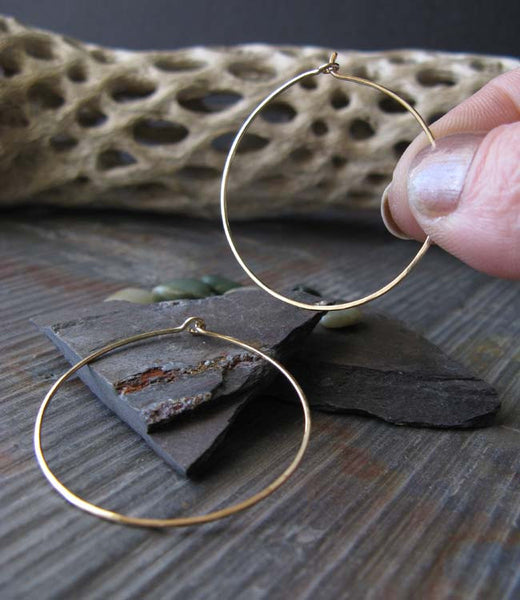 Thin Gold Delicate Hoop Earrings Medium