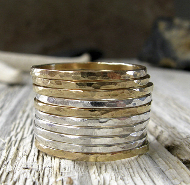 Thin Hammered Stacking Rings Sterling Silver adn 14k Gold Filled