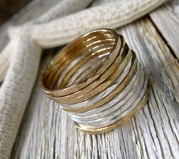 Thin Hammered Stacking Rings Sterling Silver and 14k Gold Filled