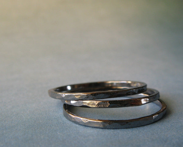 Thin Oxidized Sterling Silver Stacking Rings