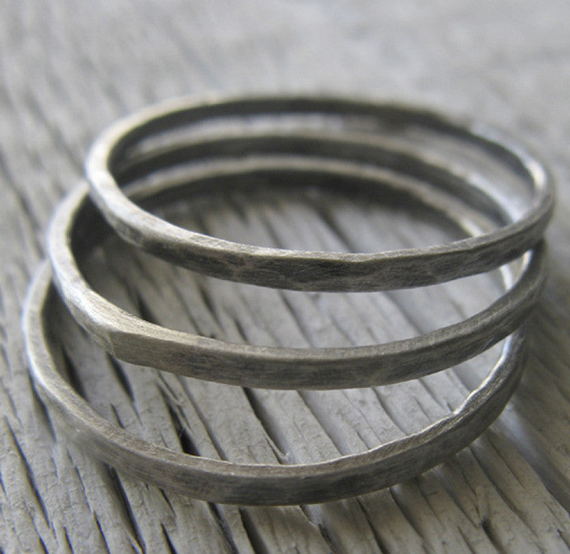 Thin Rustic Sterling Silver Stacking Rings