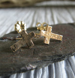 Tiny Cross Christian Stud Earrings