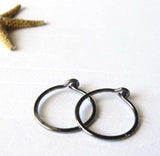 Tiny Dark Sterling SIlver Thin Hoop Earrings