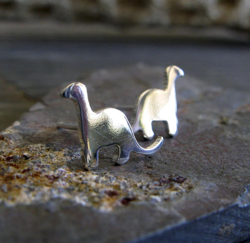 Tiny dinosaur stud earrings in sterling silver or 14k gold