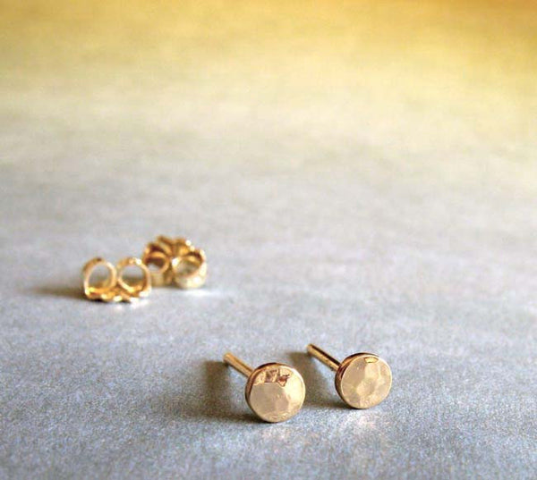 Tiny Hammered Dot Stud Earrings 14k Gold