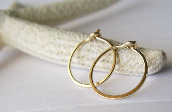Tiny Gold Thin Hoop Sleeper Earrings