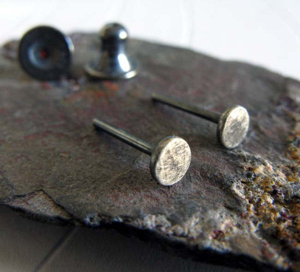 Tiny Hammered Dot Stud Earrings Sterling Silver Oxidized & Brushed