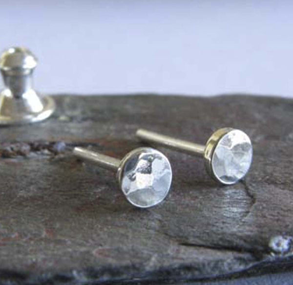 Tiny Hammered Dot Stud Earrings Sterling Silver