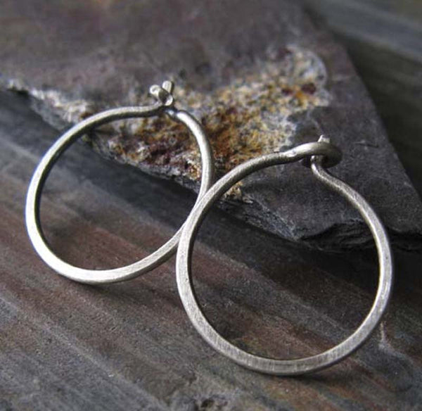 Tiny Rustic Sterling Silver Thin Hoop Sleeper Earrings