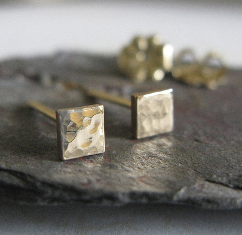 Tiny Square Hammered Gold Stud Earrigs