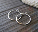 Tiny Sterling Silver Thin Sleeper Hoop Earrings