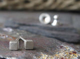 Tiny Sterling Silver Cube Post Earrings