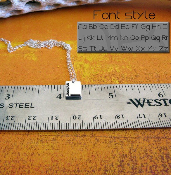 Tiny name pendant necklace handmade in sterling silver