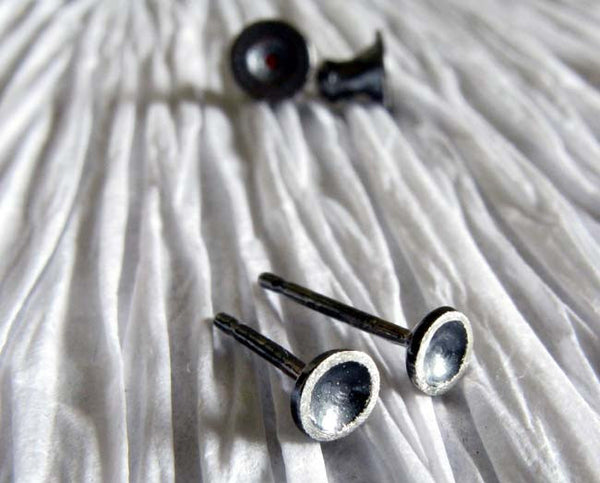 Rustic sterling silver tiny dome stud earrings