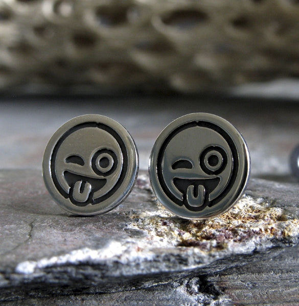 Tounge Out Winking Emoji stud earrings.  Handmade geek jewelry. Sterling Silver.