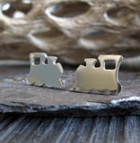 Train locomotive stud earrings handmade in sterling silver or 14k gold